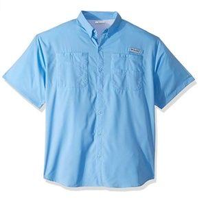 NWT Men's S Columbia Tamiami II Blue Fishing Shirt